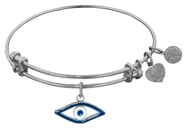 Item - Silvertone With Enamel Evil Eye Charm Bracelet