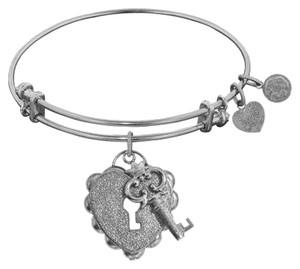 Angelica Silvertone Heart and Key Charm Bracelet