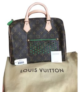 Louis Vuitton Limited Edition Satchel in Green/ Brown