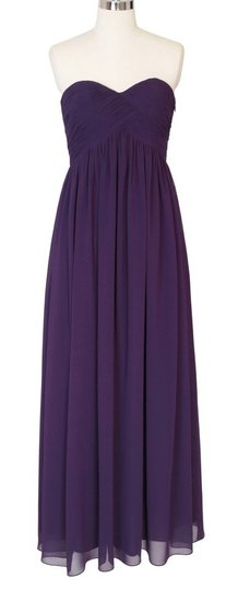 Purple Chiffon Strapless Sweetheart Long Feminine Dress Size 6 (S)