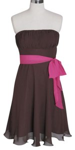 Brown Chiffon Chocolate Strapless Pleated Bust Casual Bridesmaid/Mob Dress Size 6 (S)