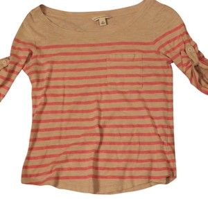 Banana Republic Striped Never Warn Brand New T Shirt Light gray with pink stripes