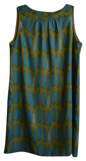 Item - Blue/Green Feathers Shift 60s Mod New Vintage Above Knee Night Out Dress Size 14 (L)