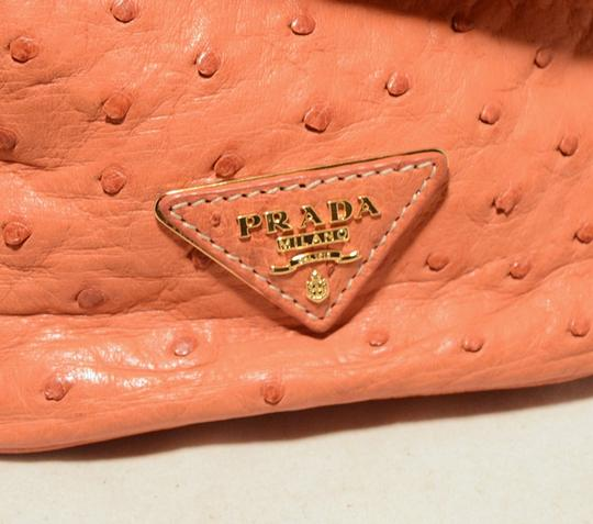Prada Ostrich Ostrich Leather Saffiano Tote in peach