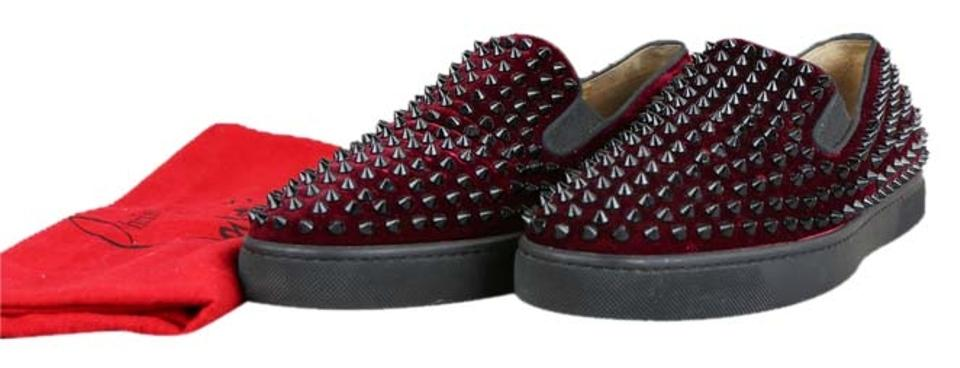 first rate 973d3 80fa2 Christian Louboutin Red Mens Velvet Spikes Roller Flats Size US 11.5  Regular (M, B) 15% off retail