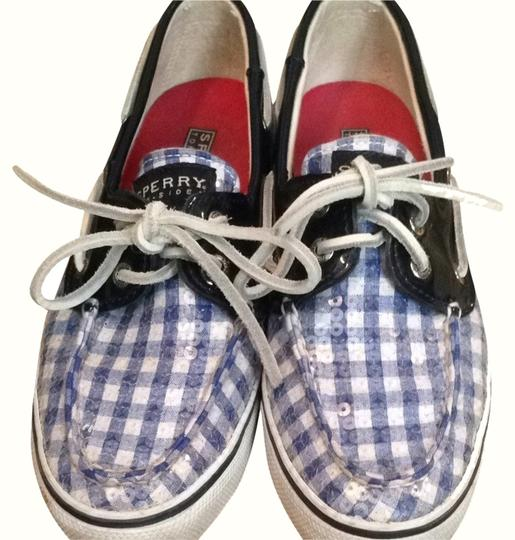 Sperry Blue And White Flats