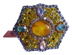 Simulated Yellow Opal in Stainless Steel (Size 7)