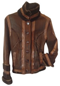 Stefanelli Nwot Couture Leather Coffee Leather Jacket