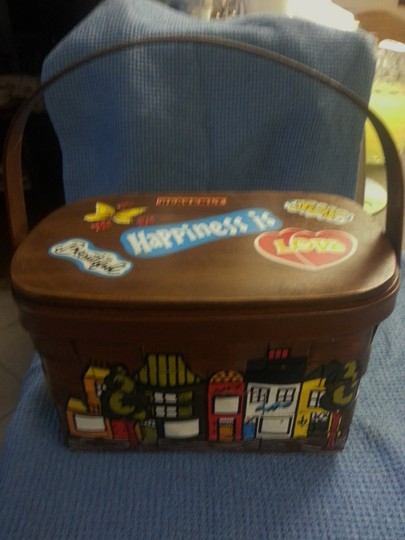 Caro-Nan Basket Purse Vintage Hand Painted 1965 - 1975 Mid Century Tote in Multi-colors
