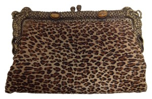Clara Kasavina Night Out Gala Clutch Brass Satchel in Animal Print