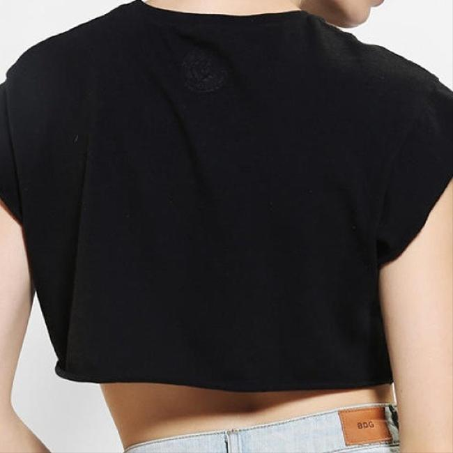 Urban Outfitters Size Large Cropped Moto T Shirt Black