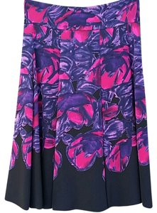 Elie Tahari Floral Silk Skirt Black/Purple/Hot Pink