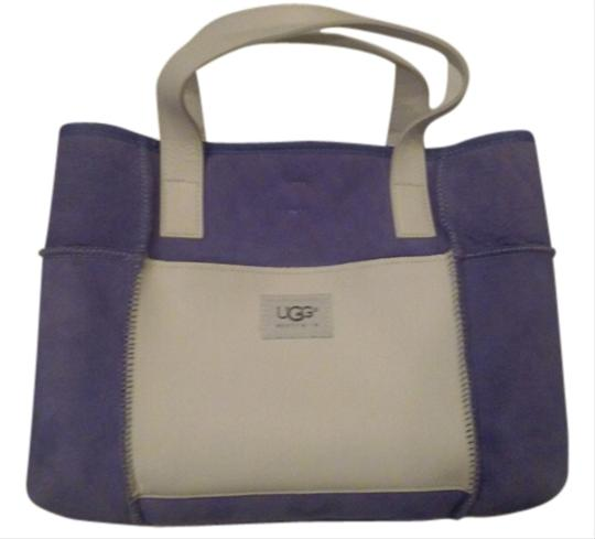 Preload https://item2.tradesy.com/images/ugg-australia-purple-and-white-suede-leather-tote-9048151-0-1.jpg?width=440&height=440