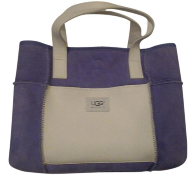 Item - Purple & White Suede Leather Tote