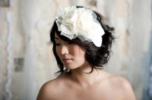 Tessa Kim Ivory Double Sheer Flower Fascinator - Pearl Hair Accessory