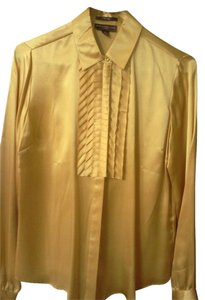 Behnaz Sarafpour Silk Tuxedo Ruffled Silk-covered Buttons Top Gold