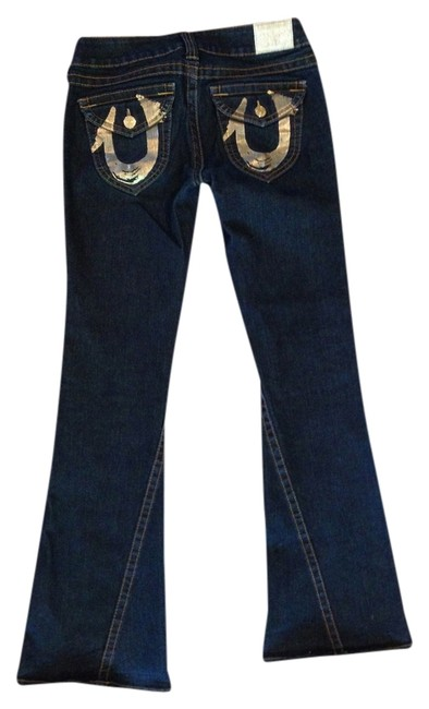 Item - Dark Rinse with Gold Foil On Pockets Women's Joey Boot Cut Jeans Size 29 (6, M)