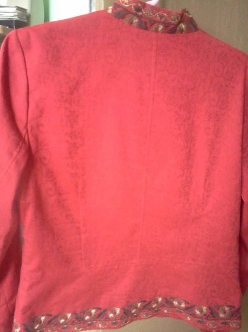 Coldwater Creek Embroidered Holiday Formal red Blazer
