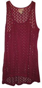 Pretty Rebellious Crochet Racer-back Top Magenta