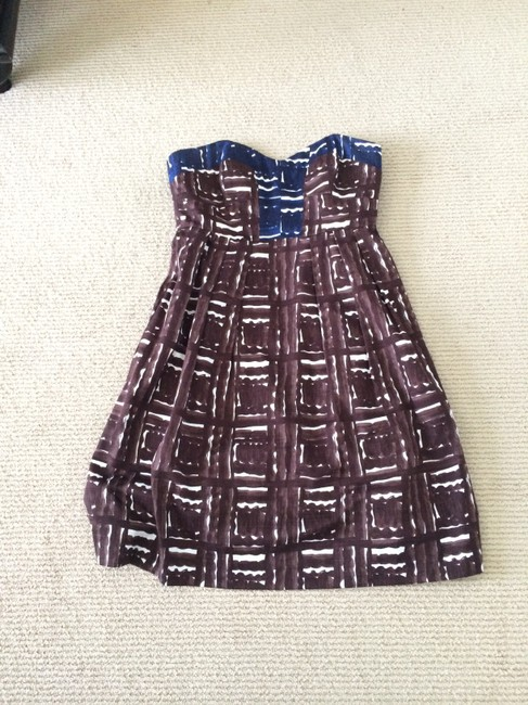 MILLY short dress Brown, Blue Strapless Sweetheart Pockets on Tradesy
