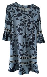 BCBGMAXAZRIA short dress Blue Printed 3/4 Sleeve Ruffle on Tradesy