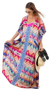 multi Maxi Dress by KAS New York Kendra Embroidered Kaftan Color Sundress