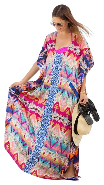 Item - Multicolor Kendra Embroidered Kaftan Color Long Casual Maxi Dress Size 6 (S)