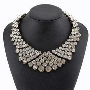 Clear Fashion Charm Pendant Chain Crystal Choker Chunky Bib Statement Necklace