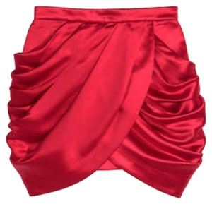 Balmain x H&M Mini Skirt Red 100 % Pure Silk
