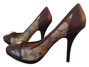 Coach Camille Signature Fabric Brown Pumps