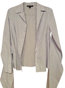 Lafayette 148 New York Button Down Wrap Front Top Lavender striped