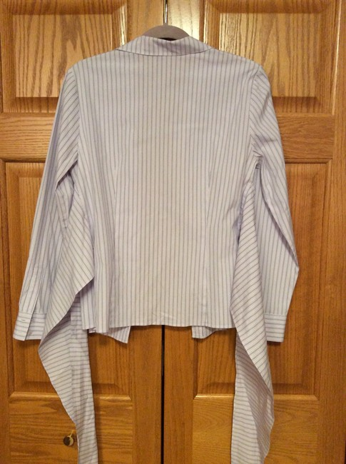 Lafayette 148 New York Button Wrap Front Non-smoking Home Top Lavender striped