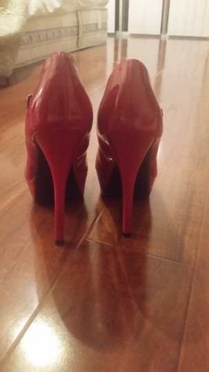 Speed Limit 98 Faux Patent Patent Patent Leather High Heels Over 3 Inches Leather Heels Rouge Coral Pink Leather Stripper Heels red Pumps