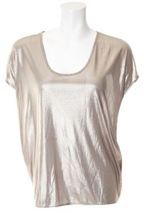 Jil Sander 100% Silk Top metallic silver