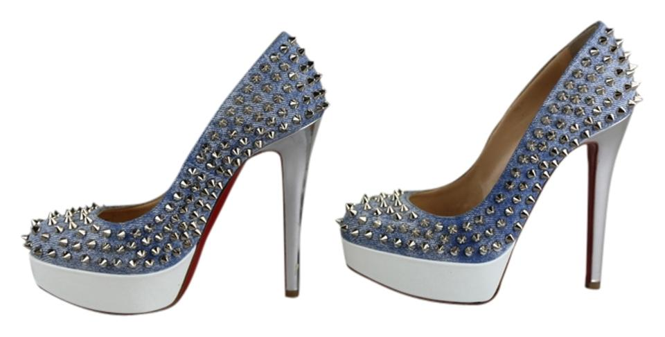new style a6304 25631 Christian Louboutin Multicolor Bianca Spikes 140 Jean Denim/White Pumps  Size US 5 Regular (M, B) 44% off retail