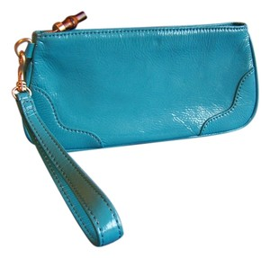 Talbots Patent Leather Wallet Genuine Leather Wristlet in Turquoise
