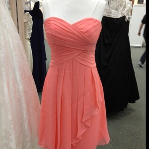 David's Bridal Coral Strapless Chiffon Short Dress F12284 Dress