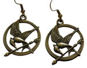 bronze charm bird earrings