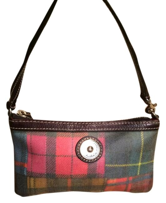 Item - Plaid Pink Red Black Green Leather Wristlet