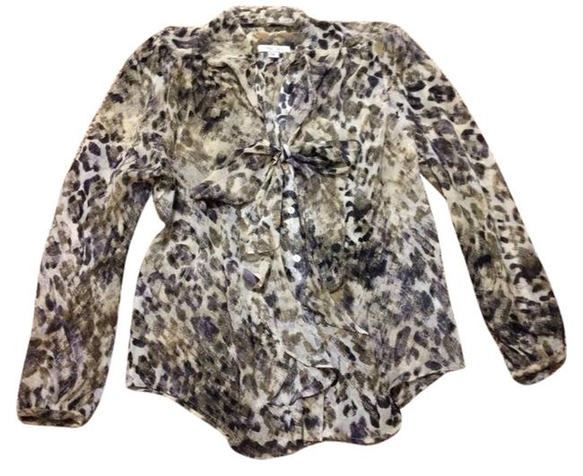 Item - Tan Flowy Tie Neck Sheer Print Blouse Size 6 (S)