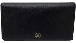 Chanel Authentic Chanel Long Wallet Black Leather