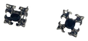 Betsey Johnson Betsey Johnson Iron Cross Stud Earrings Black Gun Metal J1515