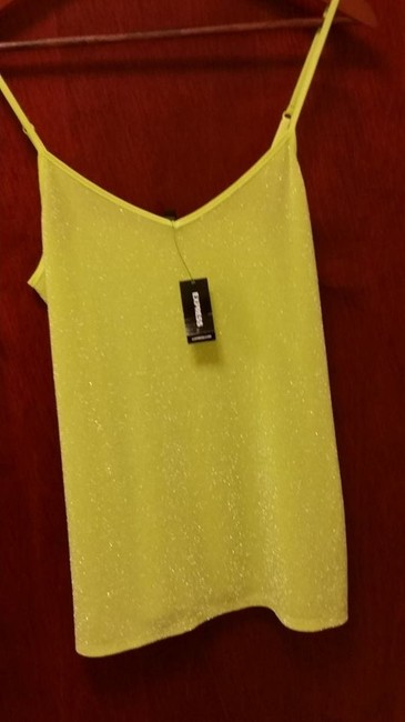 Express Glitter Spaghetti Straps Going Top Citron