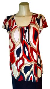 Michael Kors Size Medium Top red, beige, white, navy