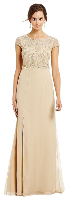 Preload https://item2.tradesy.com/images/adrianna-papell-nude-cap-sleeve-beaded-gown-long-formal-dress-size-10-m-9059041-0-1.jpg?width=400&height=650