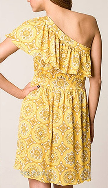 Juicy Couture Print Silk One Shoulder Ruffle Empire Waist Dress