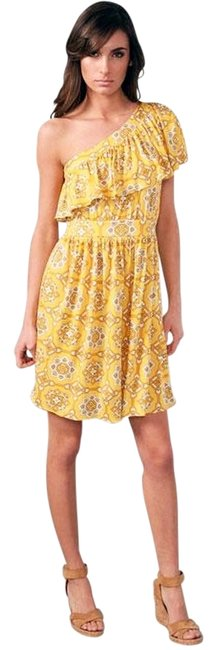 Juicy Couture Print Silk One Ruffle Empire Waist Dress