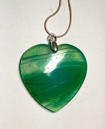 Other Green Agate Gemstone Necklace Heart 925 Silver J1536