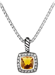 David Yurman Albion Collection 20mm Citrine and Diamond Pendant Necklace