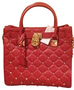 Michael Kors Leather Studded Tote in Red